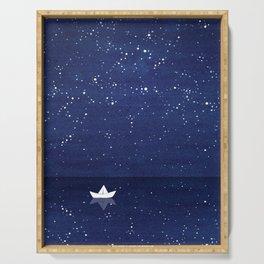 Zen sailing, ocean, stars Serving Tray