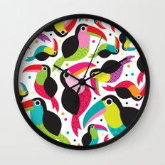 Cute colorful patchwork tucan illustration pattern Wall Clock