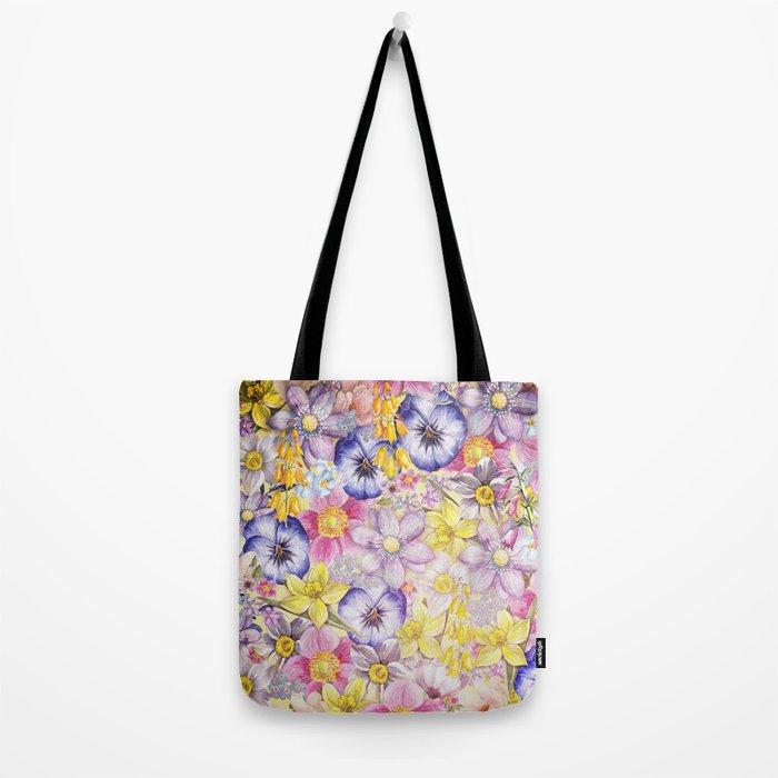 Painterly Vintage Spring Flowers Pattern - Springflower floral Tote Bag