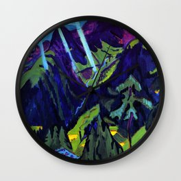 Mountain Landscape in the Sun by Ernst Ludwig Kirchner Wall Clock
