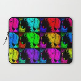 Colorful Pop Art Dachshund Doxie Face Closeup Tiled Image Laptop Sleeve