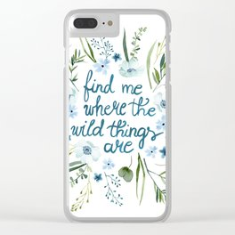 Floral Quote Blue Clear iPhone Case