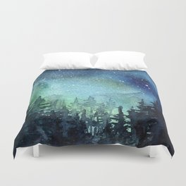 Galaxy Watercolor Aurora Borealis Painting Duvet Cover