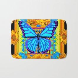 Golden Sunflowers Blue Butterfly black Art Bath Mat