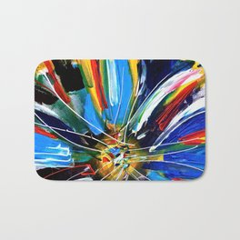Dutch Spin - Colorful abstract painting flower Bath Mat
