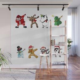 santa claus reinderr christmas tree unicorn snowman gingerbread man cat dog dab Wall Mural