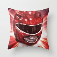 power ranger Throw Pillows featuring Red Power Ranger by SachsIllustration