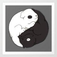 yin yang Art Prints featuring Yin & Yang by Lili Batista