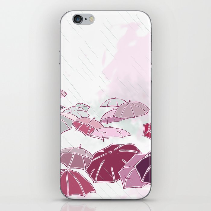 Rainy day in pink iPhone Skin