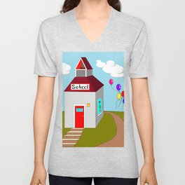 An Ole School House with Balloons Unisex V-Neck