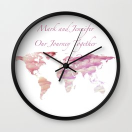 Cotton Candy Sky World Map - Mark and Jennifer Wall Clock