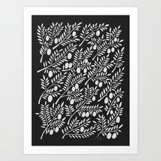 White Olive Branches Art Print