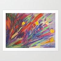 Crazy Bright Contemporary Florals! Acrylics, Pastels and Mixed Media Prints Art Print