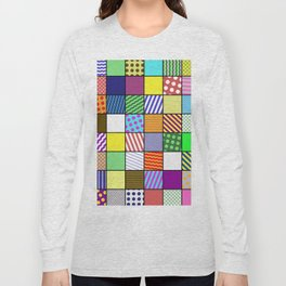 Retro Patchwork - Abstract, geometric, patterned design Long Sleeve T-shirt