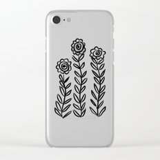 Flower Party in Black Clear iPhone Case