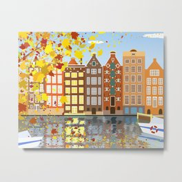 Amsterdam City Canal Autumn Colorful Metal Print