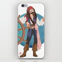 jack sparrow iPhone & iPod Skins featuring Captain Jack Sparrow by Lili's Damn Fine Shop