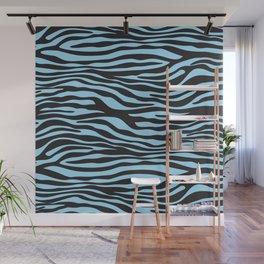 Animal Print, Zebra Stripes - Black Blue Wall Mural