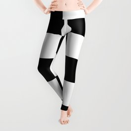 Traditional Black And White Chequered Start Flag Leggings