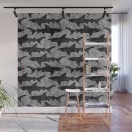 Gray and Black Shark Pattern Wall Mural