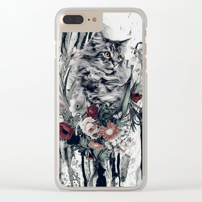 Cat in flowers Clear iPhone Case