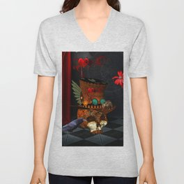 Steampunk, awesome, skull with rat and crow Unisex V-Neck