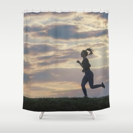 Running woman morning workout. Female Runner. Jogging during sunrise. Workout in a Park. Sporty Shower Curtain