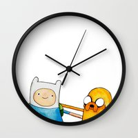 finn and jake Wall Clocks featuring Finn & Jake by And Other Short Stories