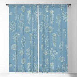 Cactus Silhouette Blue Blackout Curtain