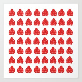Red Asian Moods Buddha Boys Art Print