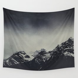 Misty dark Mountains Wall Tapestry