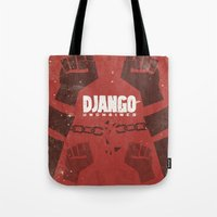tarantino Tote Bags featuring Django Unchained -  Quentin Tarantino Minimal Movie Poster by Stefanoreves