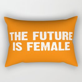 The Future Is Female - Orange and White Rectangular Pillow