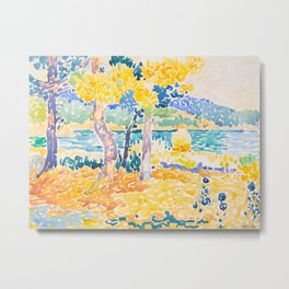 Pines on the Coastline Henri-Edmond Cross Neo-Impressionism Pointillism Watercolor Painting Metal Print
