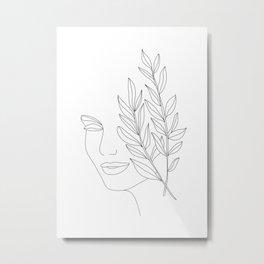 Minimal Line Art Woman Face Metal Print