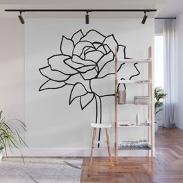 Rose, Line Drawing in Black and White Wall Mural