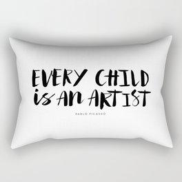 Every Child is an Artist black-white kindergarten nursery kids childrens room wall home decor Rectangular Pillow