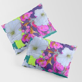 White Garden Petunia & Morning Glories Flowers Turquoise Art Pillow Sham