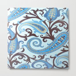 Paisley in Blue and Brown Metal Print