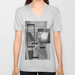 Gray Geometry Unisex V-Neck