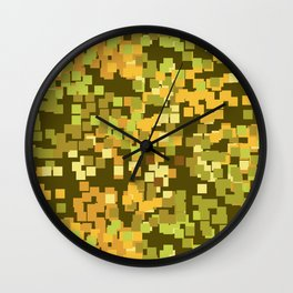 Geometric Squares Pattern in Trendy Faux Camo Design Wall Clock