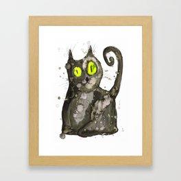 Big fat black cat Framed Art Print