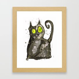 Big fat black cat Framed Art Print