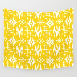Mid Century Modern Atomic Space Age Pattern Yellow Wall Tapestry