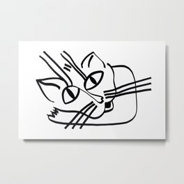 """Cat drawings"" Resting Cat on his Elbow Metal Print"