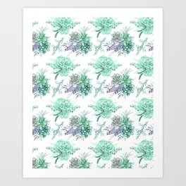 Succulents Mint Green Lavender Lilac Violet Pattern Art Print