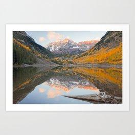 MAROON BELLS AUTUMN SUNRISE COLORADO LANDSCAPE PHOTOGRAPHY Art Print
