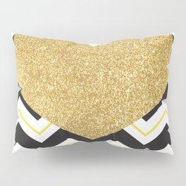 Golden Glittery Heart Pillow Sham