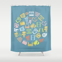 cinema Shower Curtains featuring Cinema circle by aleksander1