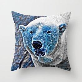BLUE - Polar Baer Throw Pillow
